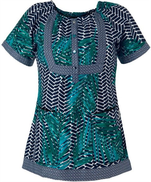 Uniform Advantage Koi Scrubs Poolside Print Top
