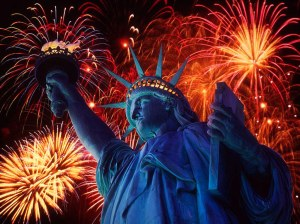 4th of of July fireworks around the Statue of Liberty