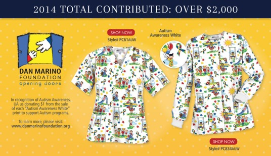 "Uniform Advantage is donating $1 from the sale of each of its ""Autism Awareness White"" prints this Fall 2014"