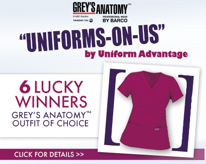 Uniform Advantage's Uniforms-On-Us contest featuring Grey's Anatomy Scrubs