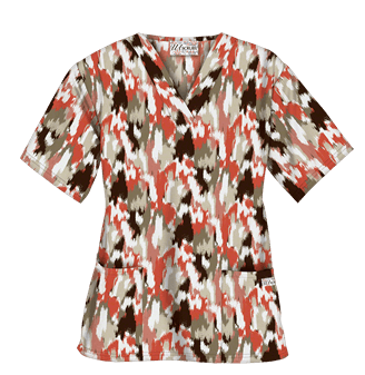 UA Exotic Camo Coffee Bean Print Scrub Top, Style # PC62ECC