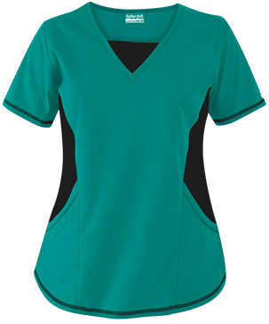Butter-Soft Scrubs by UA™ New & Improved V-Neck Top with Stretch Panels, Style # STN868C – Emerald Isle