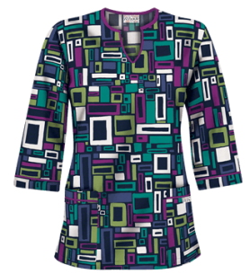 UA Shades of Square Navy 3/4 Sleeve Print Scrub Top, Style #UA50SSQ