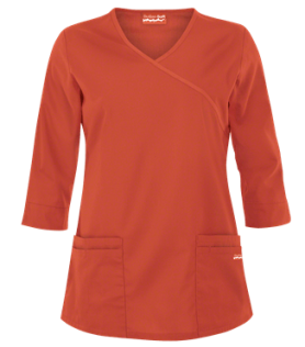 Butter-Soft Scrubs by UA™ ¾ Sleeve Mock Wrap Top, Style # UAS648C – Amber Glow