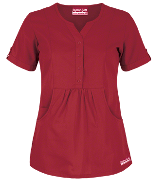 Butter-Soft Scrubs by UA™ Solid Round Neck Top, Style # UAS737C – Cherry Berry