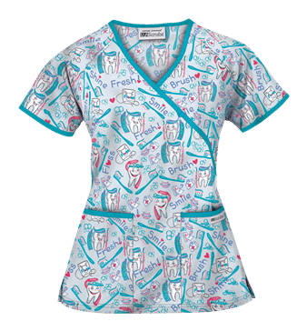 UA Smile Brush Shine Blue Print Scrub Top, Style # WT668SMI