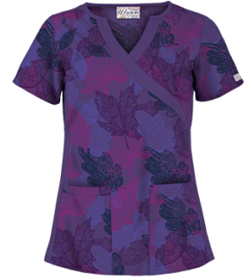 UA Luminance Leaf Purple Velvet Mock Wrap Scrub Top, Style # WT863LLP