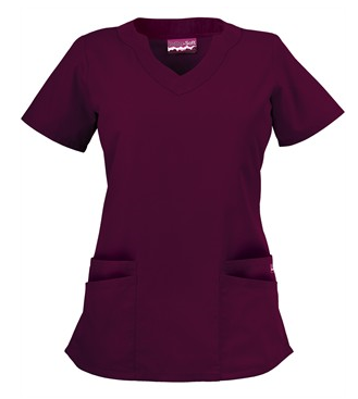 Butter-Soft Scrubs by UA™ Women's Scallop Neck Top, Style # UAS194C - Wine