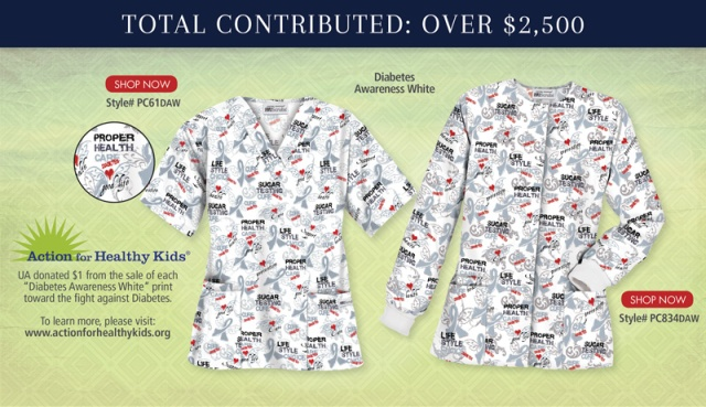 "Uniform Advantage has partnered with Action for Healthy Kids for Fall 2014 and donated $1 from the sale of each ""Diabetes Awareness White"" print scrub top and jacket towards the fight against diabetes."