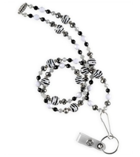 Vet Tech Nurse Mates Black White Zebra Beaded Lanyard Style LO920905 found on blog.uniformadvantage.com