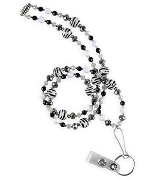 Vet Tech Nurse Mates Black White Zebra Beaded Lanyard Style LO920905 found on blog.uniformadvantage.com