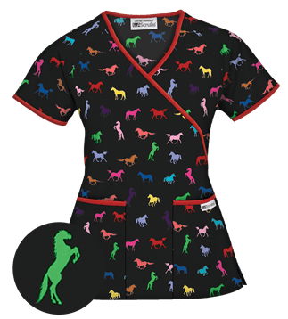 Vet Tech UA Giddy Up Eggplant Mock Wrap Scrub Top Style #  WT668GUE found on blog.uniformadvantage.com