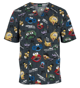 Cherokee Tooniforms I Mustache You Unisex Print Scrub Top, Style #  CK6876SM