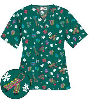 Uniform Advantage's holiday scrub prints - UA Bundle Up Hunter Print Scrub Top