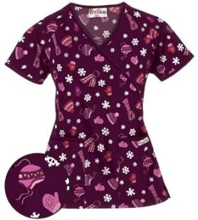 Uniform Advantage's holiday scrub prints - UA Bundle Up Wine Print Scrub Top