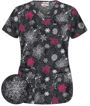 Uniform Advantage's holiday scrub prints - UA Cosmic Snowflakes Black Print Scrub Top