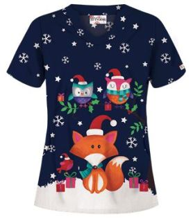 Uniform Advantage's holiday scrub prints - UA Foxy Christmas Navy Print Scrub Top