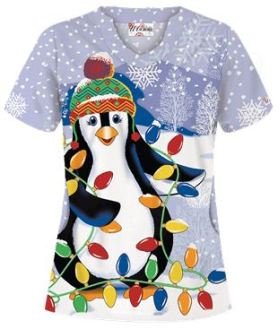 Uniform Advantage's holiday scrub prints - UA Light My World White Print Scrub Top