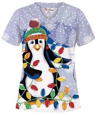 Uniform Advantage's holiday scrub prints - UA Light My World White Print Scrub Top