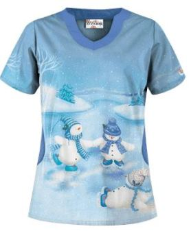 Uniform Advantage's holiday scrub prints - UA Skating Snowmen Blue Print Scrub Top
