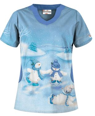 Uniform Advantage's holiday scrub prints - UA Skating Snowmen Blue Print Scrub Top