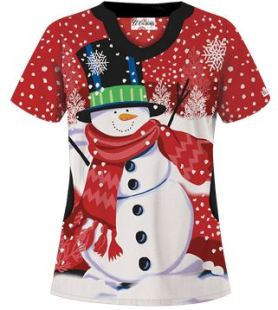 Uniform Advantage's holiday scrub prints - UA Snow Season Red Print Scrub Top