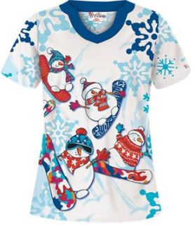 Uniform Advantage's holiday scrub prints - UA Snowboarding Snowmen White Print Scrub Top