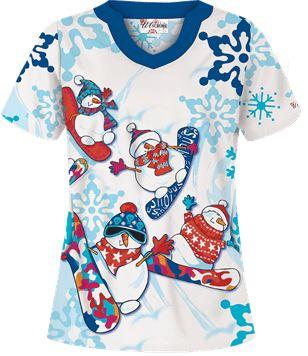 Uniform Advantage's holiday scrub prints - UA Snowboarding Snowmen White Print Scrub Top