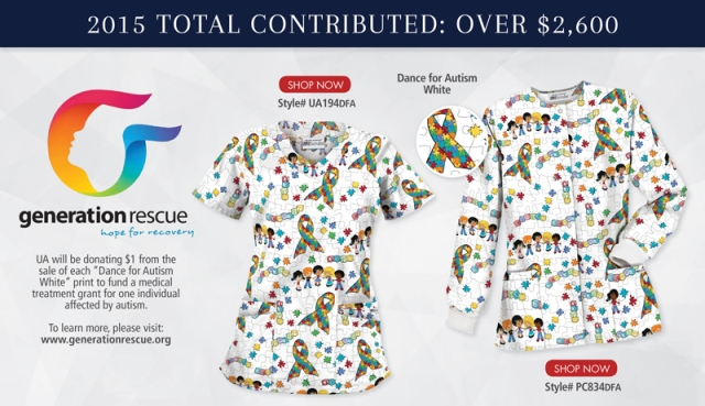 Uniform Advantage designs a Dance for Autism White Scrub Print to spread awareness about Autism