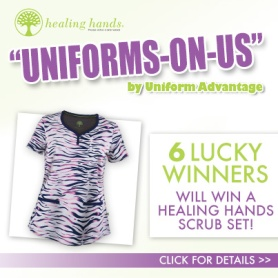 Uniform Advantage's Uniforms on Us Contest featuring Healing Hands Scrub Giveaways