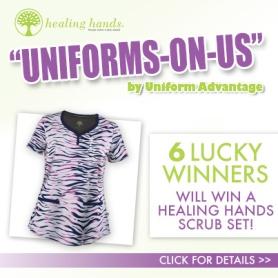 Uniform Advantage's Uniforms on Us Contest featuring Healing Hands Scrub Giveaways