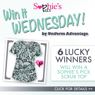 Uniform Advantage's Win It Wednesday Contest featuring their In House Style Guru, Sophie's Picks scrub tops