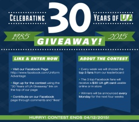 Uniform Advantage's 30th Anniversary Celebrate 30 Years of UA Giveaway contest