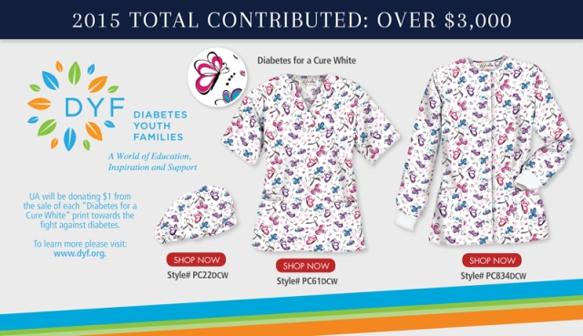"Uniform Advantage has partnered with Diabetes Youth Families this Spring 2015 and will be donating $1 from the sale of each ""Diabetes for a Cure White"" scrub prints towards the fight against diabetes."