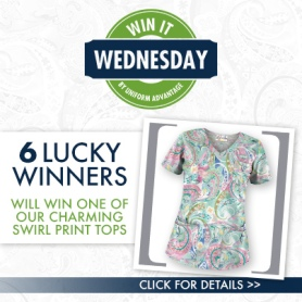 Charming Swirls Scrub Print Tops from UniformAdvantage.com