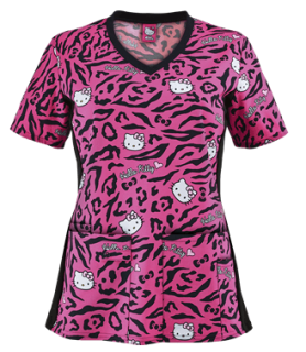 Cherokee Tooniforms Hello Kitty Wild Print Scrub Top - Style CK681HKU sold at Uniform Advantage