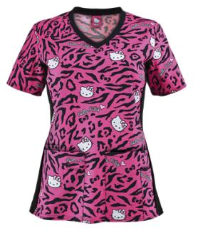 Cherokee Tooniforms Hello Kitty Wild Print Scrub Top - Style CK681HKU sold at Uniform Advantage