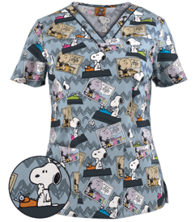 Cherokee Tooniforms Scrubs Back To School Print Top - Style CK6807PO sold at Uniform Advantage