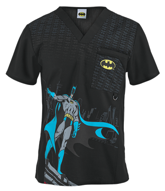 Cherokee Tooniforms Scrubs The Batman Men's Print Top - Style CK6788GDM sold at Uniform Advantage