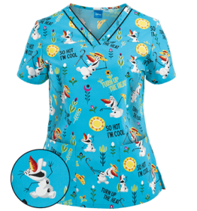 Cherokee Tooniforms Scrubs Turn Up The Heat Print Top - Style CK680FZ sold at Uniform Advantage