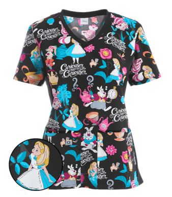 Cherokee Tooniforms Scrubs Alice's Tea Party Print Top
