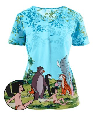 Cherokee Tooniforms Scrubs Man Cub Print Top