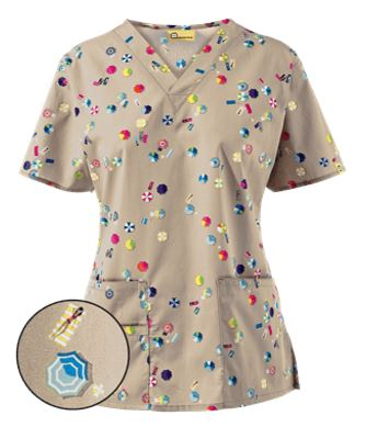 WonderWink Bird's Eye Beach Print Scrub Top