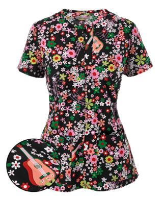 Koi Stretch Floral Melody Print Scrub Top
