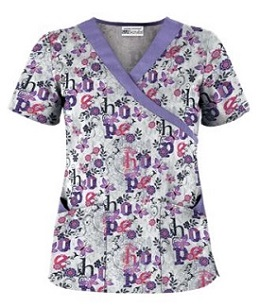 Have Hope White Print Scrub Top
