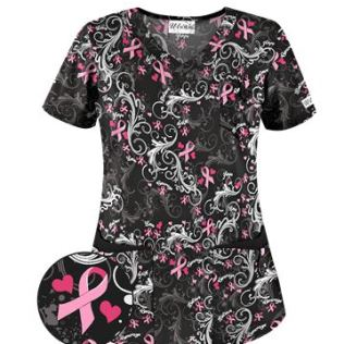 UA Pink Courage Pink Print Scrub Top