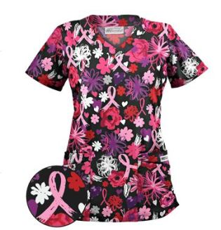 UA Painted Pink Ribbons Black Print Scrub Top