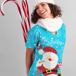 UA Cookies for Santa Scallop Neck Print Scrub Top