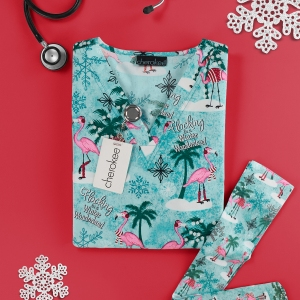 Cherokee Winter Flamingo Print Scrub Top