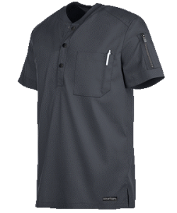 Short Sleeve Henley Scrub Top by Advantage STRETCH for Men